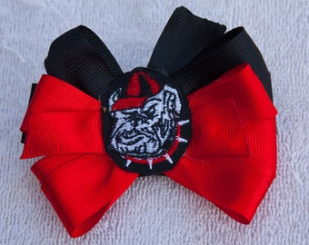 Red and Black Hair Bow, Girls Infants Toddler Bow, Alligator Clip