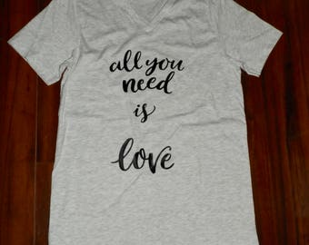 All you need is love shirt, Valentine's Day shirt, women's Valentine's Day shirt, women's Valentine's Day gift, women's V-neck