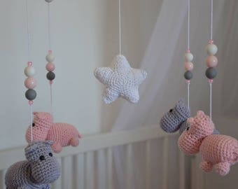 Baby mobile, mobile bebe, crib mobile, mobile melody, mobile play, hippo, baby, room decor, hanging crib mobile, nursery mobile, baby girl