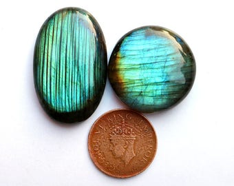 4pcs 153cts. 43x27mm 100% natural beautiful light green fire labradorite Cabochon smooth hand polish jewelry making gemstone  SKU00132