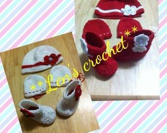 crochet baby bonnet set