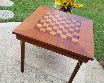 Vintage Collapsible Wood Chess/Cards Table