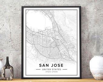 San Jose Map, San Jose Wall Art, San Jose Print, San Jose Poster, San Jose California, Map Of San Jose, City Map Print, Map Printable, Jpg