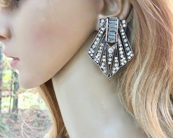 Silver Deco Earrings, Gold Deco Earrings, Art Deco Earrings, Wedding Deco Earrings, Crystal Deco Earrings, Rhinestone Deco Earrings