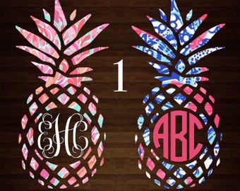 Lilly Pulitzer Pineapple Monogram Decal | Lilly Pulitzer Monogram | Lilly | Inspired | Monogram Decal | Personalized | Decal | Car Decal |