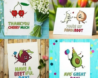 Vegan card pack (Any 3) - cute vegan cards - funny vegan card - thank you cards - love cards - birthday cards - vegan gift cards
