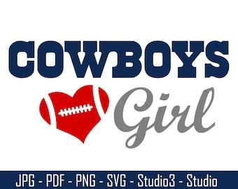 Cowboys Girl, Dallas Cowboys, Football - Cut Files - SVG, PNG, Studio, Studio3 - Silhoutte and More - CS054