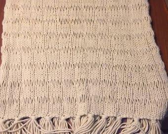 Hand knit  shawl  with  fringe