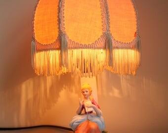 Vintage Lamp Figurine Lamp Ceramic Mid Century Style Vanity Lamp Home Decor Nice Idea Gift