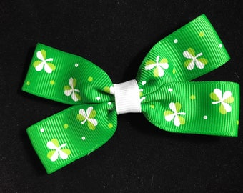 St. Patrick's Day green ribbon bow with shamrocks