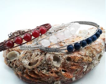 Antique Copper Red Jade Cuff Style Bracelet