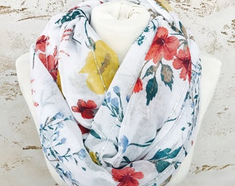 Scarf, Infinity Scarf, Cowl Scarf, Winter Scarf, Chunky Scarf, Floral Scarf, Womens Scarves, Chunky Infinity Scarf, Scarf Women, Scarf Shawl