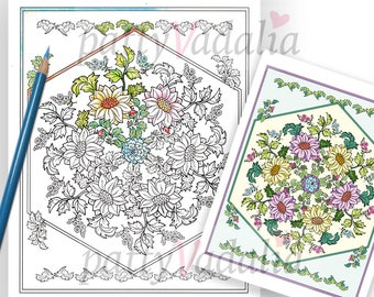 Mandala Coloring Page. Floral Mandala to Color. Mandala. Full Color Art Print Included. Adult Coloring Page. Coloring. Instant Download.