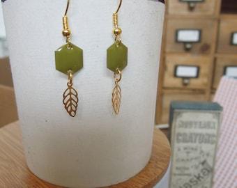 Earrings geometric khaki and gold/Hexagon/leaf/made/handmade gifts for women