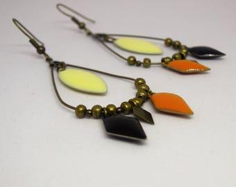 Cream/Black/Yellow mustard/bronze/dangling/diamond/shuttle/geometric/bronze/made handmade/gifts for women drop earrings