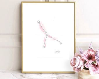 Cancer Astrology Zodiac Constellation Watercolor Print