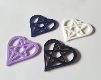 Heart pentagram pendant, Pentagram pendant, Heart pendant, Jewellery pendant, Pentagram, Heart, Heart pentagram, Goth, Pastel goth, Occult