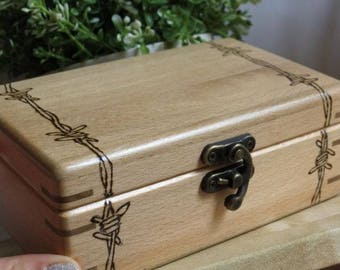 Wooden Luxury Jewelry Box, Handmade Gift, for Her, Him Gift, Easter, Engraved Barbed Wire,