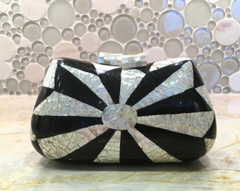 Black and white Mother of pearl clutch