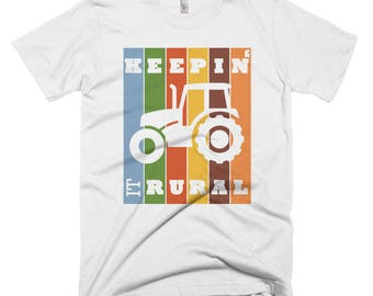Keepin' It Rural Funny Retro Design Tractor Short-Sleeve T-Shirt