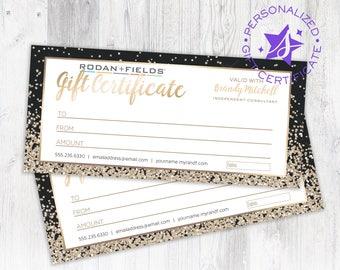 Rodan and Fields Personalized Gift Certificate Rodan + Fields Custom Gift Card Design Digital Download Printable Gold Glitter & Black