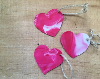 5 Gift Tags, Valentine's Day Gift Tags, Heart Gift Tags, Heart Ornament, Mini Ornament, Clay Ornament, Handmade Ornament, Holiday Gift Tags