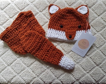 Crochet baby fox hat and nappy cover