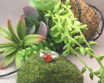 Amber set in serling silver ring