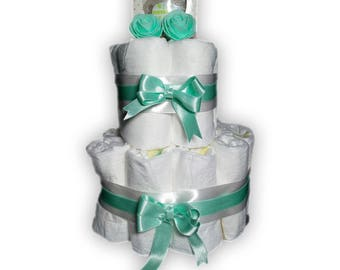 Diaper cake-incl. Bibi pacifier-as a gift wrapped-maternity gift-baby shower-2 coats/layers-Mint Green-Pamper