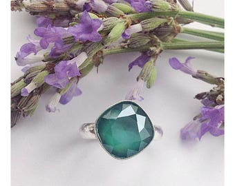 Beautiful sterling silver ring made with 'Royal Green' Swarovski crystal