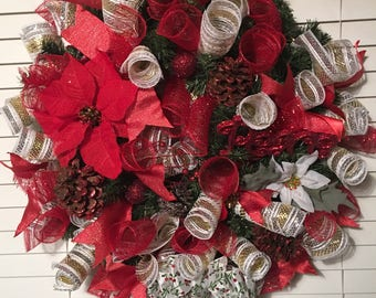 Garland & Mesh Ribbon Wreath