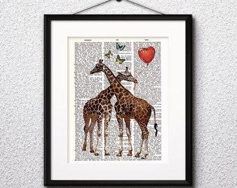 Giraffe Watercolor Print, Giraffe Art, Giraffe Painting, Giraffe Poster, Animal Art, Giraffe , Nursery, Kids Room Decor, Wall Art