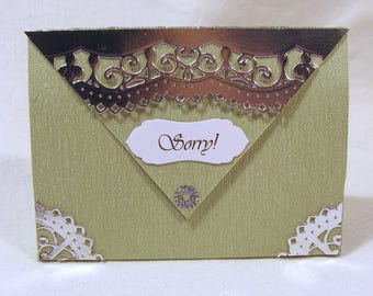 Small gift bag + magnetic clasp + Label Ornament silver/Light green manual work