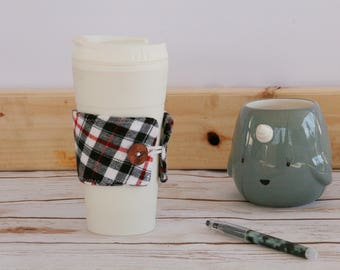 Coffee Cozy Sleeve - white black and red / flannel / reusable coffee sleeve