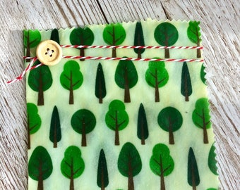 "Reusable Eco-Friendly Beeswax food wraps & covers - Forest Tree Themed 12""x12"""