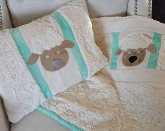 Baby lamb pillow and blanket set