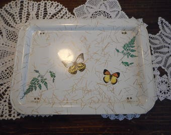 Vintage Bed Tray, Lap Tray, Butterflies, Ferns