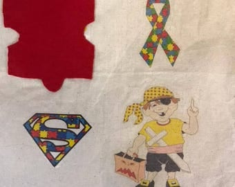 Autism awareness bag/Pete,jigsaw,super,ribbon