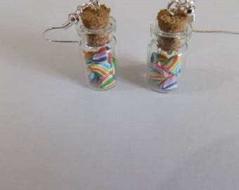 Mini candy bean filled vials earrings
