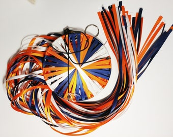 Citrus Blue! Double-faced Satin Ribbon Windsock with colors Navy, Torrid Orange, and White