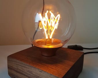 Walnut bedroom lamp with edison style led bulb