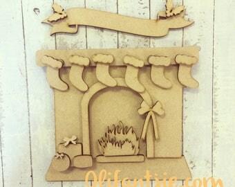 Christmas Fireplace with Stockings MDF Craft Blank Kit