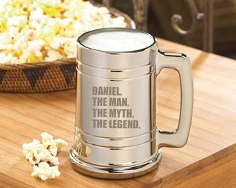 Personalized The Man. The Myth. The Legend. Gunmetal Beer Mug - Father's Day Gifts - Dad's Day Gifts - Dad's Beer Mugs - Father's Beer Mugs
