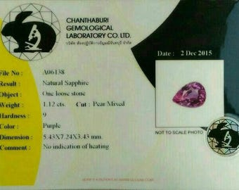 Natural certified unheated sapphire 1.12 ct VVS with certification