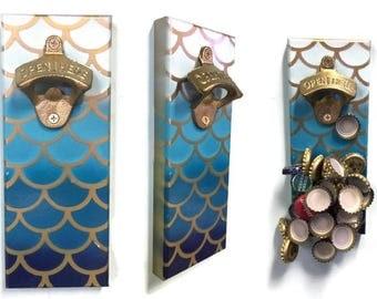 Cap Catcher Magnetic Bottle Opener - Opener for Fridge - Mermaid Bottle Opener- Blue Ombre Mermaid - Fish Scale - Indoor/Outdoor Use