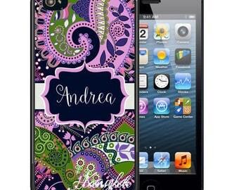 Personalized Rubber Case For iPhone X, 8, 8 plus, 7, 7 plus, 6s, 6s plus, 5, 5s, 5c, SE - Purple Green Paisley