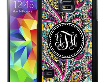 Monogrammed Rubber Case For Samsung Note 3, Note 4, Note 5, or Note 8- Black Pink Paisley