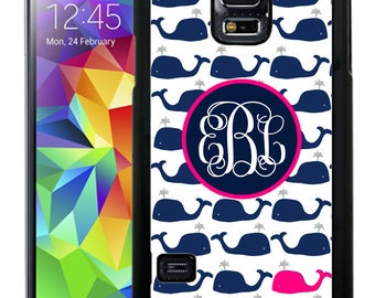 Monogrammed Rubber Case For Samsung Note 3, Note 4, Note 5, or Note 8- Preppy Whales