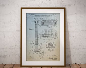 Guitar Combined Bridge and Tailpiece Patent Poster, Guitar Bridge Patent Print, Patent Art Print, Home Decor, Wall Art,Musician Cave,IAP0041