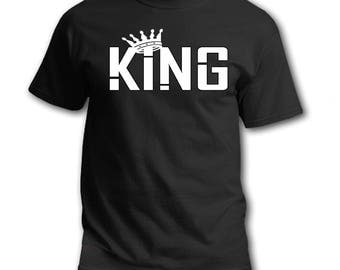 KING with Crown Brand New Tee T-Shirt 100% Cotton with Vinyl Men Gift Gifts or for Yourself!